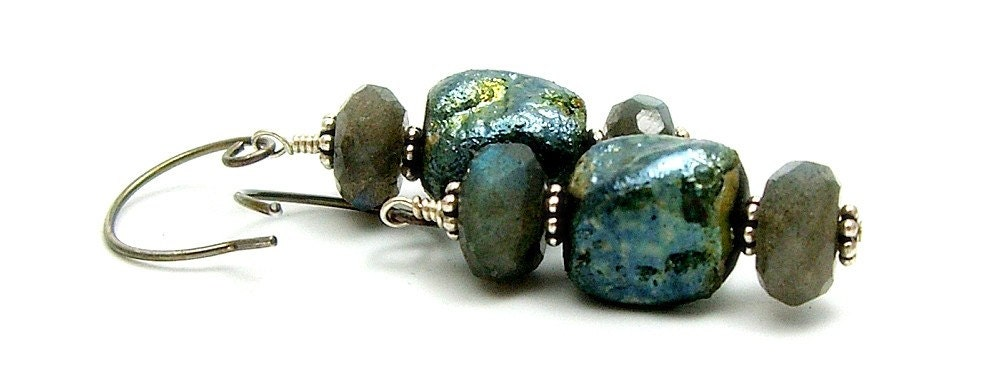 Raku and Labradorite Sterling Silver Earrings...Raku Fired Ceramic Jewelry  by MAKUstudio