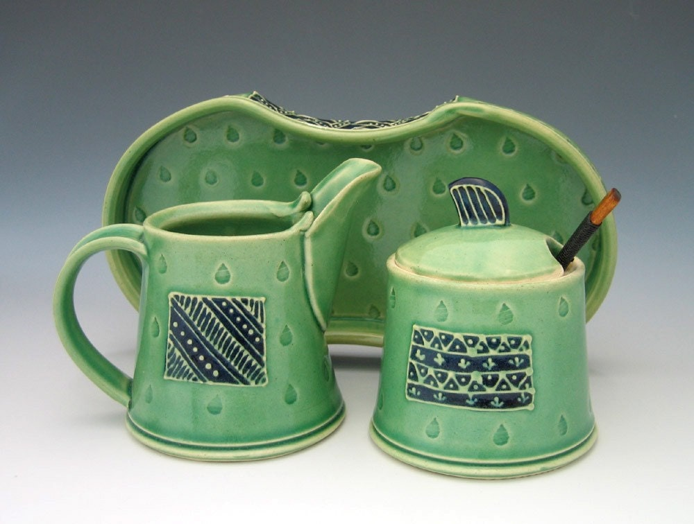 Cream and Sugar set in blue and green inspired by Bollywood