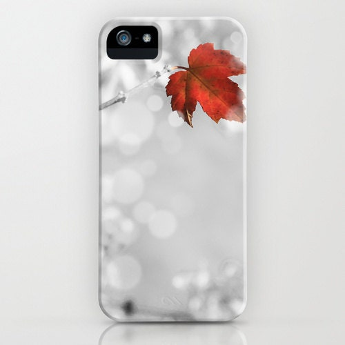 iPhone 5 Case Red Leaf White Snow--Original Photography - ThePDXPhotographer