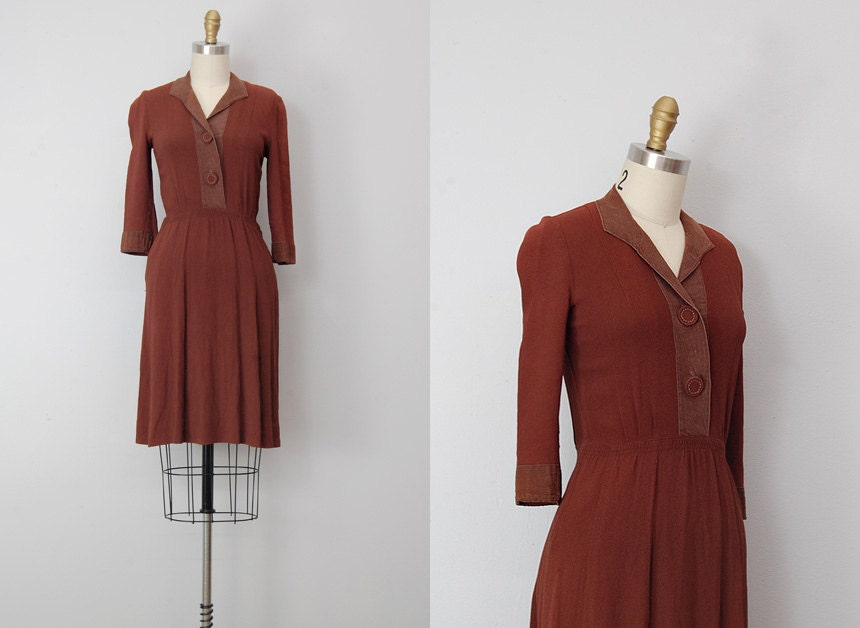 vintage 1940s dress / vintage 40s dress / 1940s brown day dress