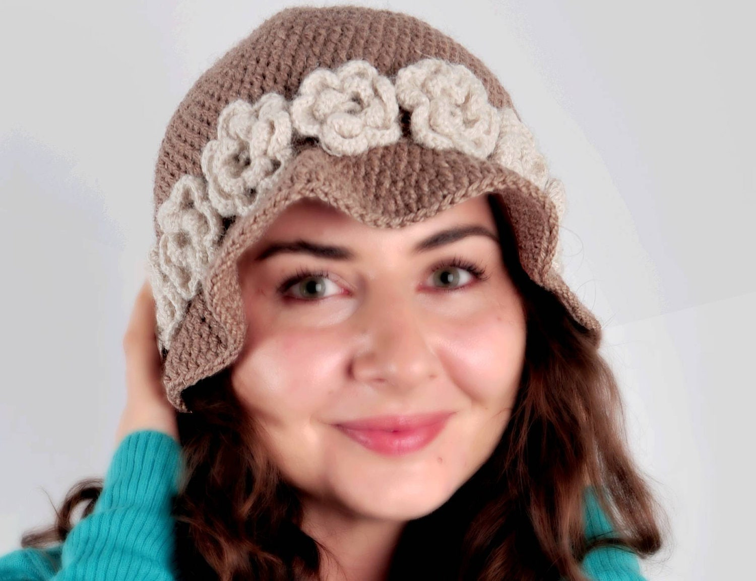 Ladies' hat with crochet flower, Women Winter Crochet Hat, Women Beanie, Brown -White, Hat with flower,  Chunky beret