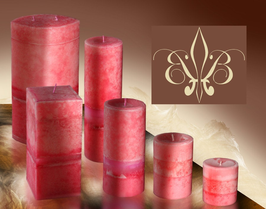 Pink Tuberose Pillar Candles 3x3.5 Fragrant