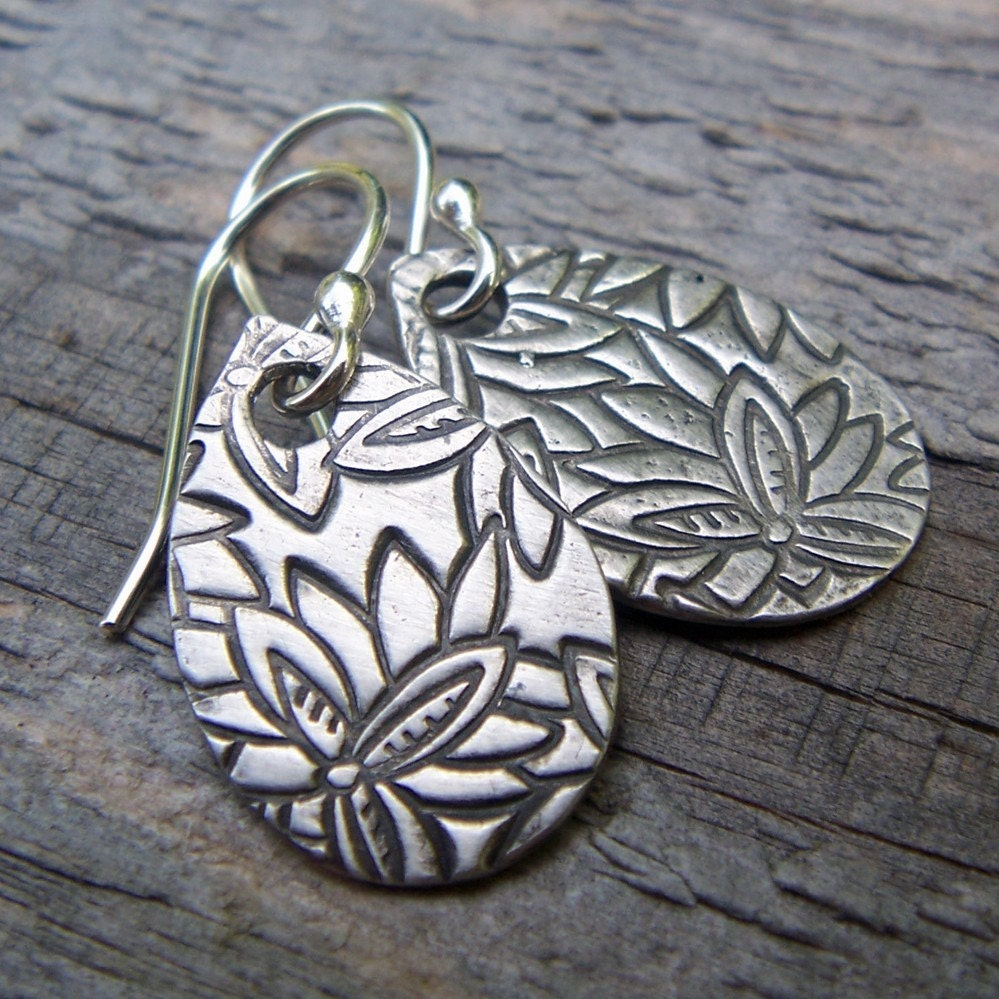 PMC Fine Silver Teardrop Paddle Earrings ...Cherry Blossoms