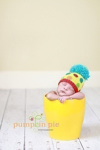 YELLOW POM POM PARADE IN BLUE Newborn Size- Made to order only- This hat was a  Celebrity Giftbasket Item for Kourtney Kardashians Babyshower