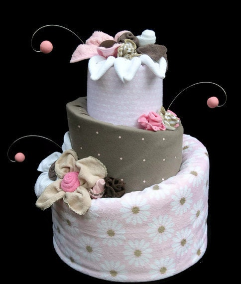 Custom Diaper Cake for a Baby Girl, Brown & Pink Unique Baby Shower ...