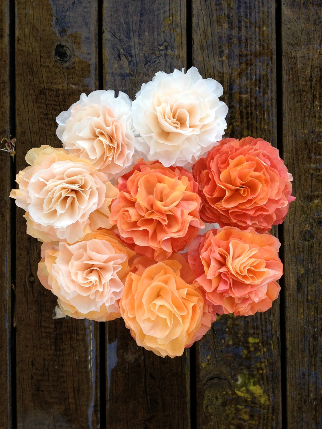 Hand crafted paper flower bouquet peach to orange by LivePlayLove