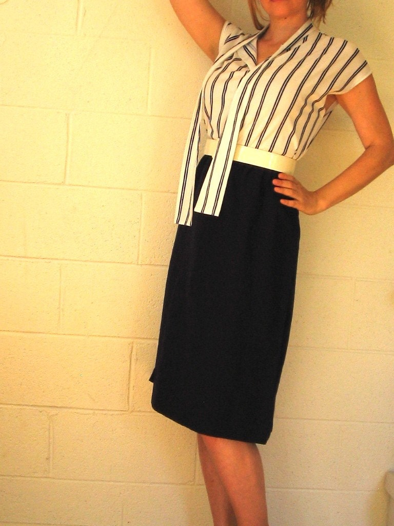 Vintage Nautical Dress Sexy Secretary 70's 80's Sailor Stripes