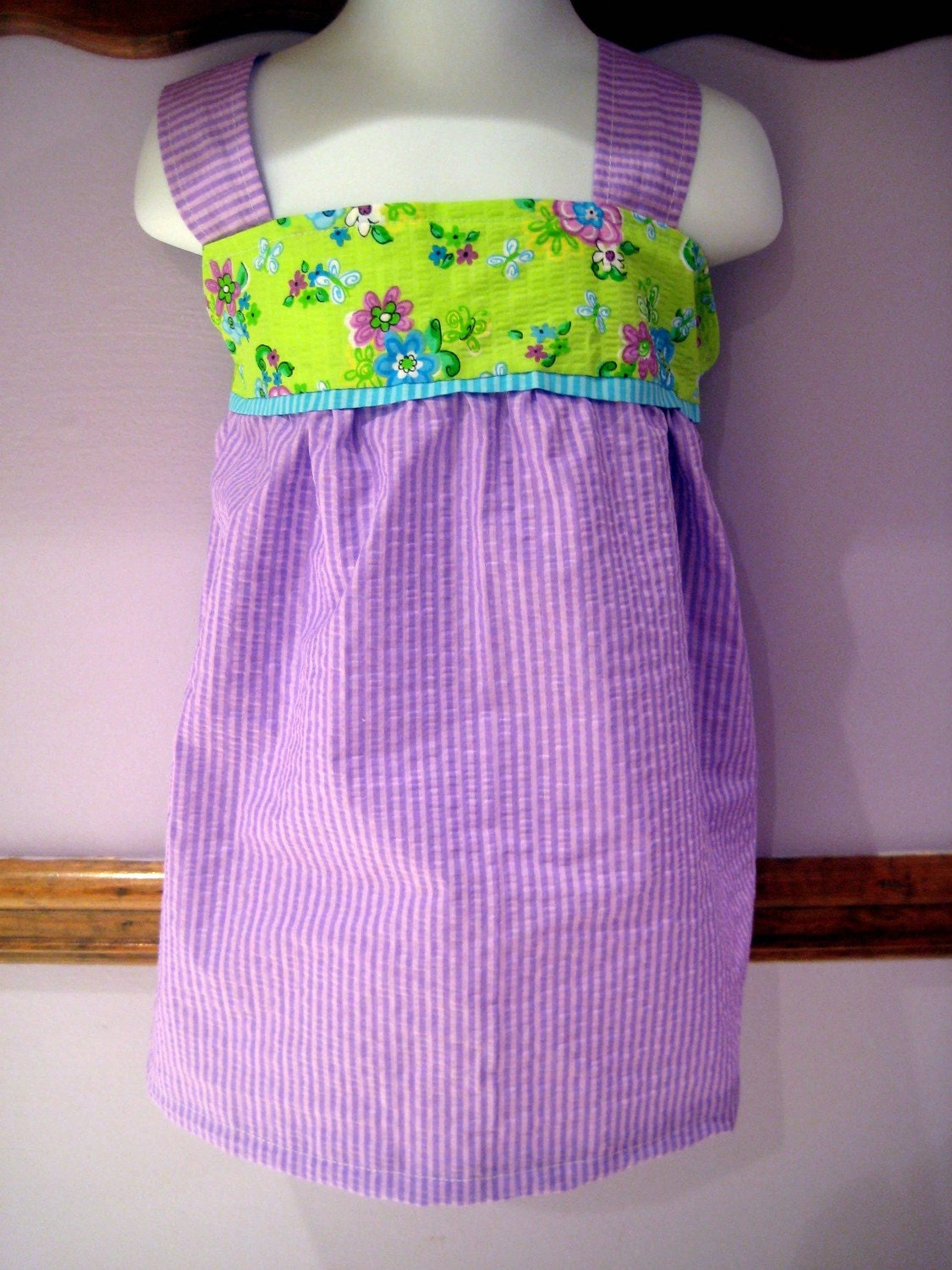 Purple and Lime Green Searsucker Tunic 5T/6