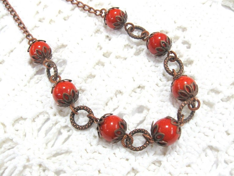 Terracotta Coral Necklace Copper Beaded Chain  Red Orange Vintage Inspired Bohemian lucky beads - SanaGem