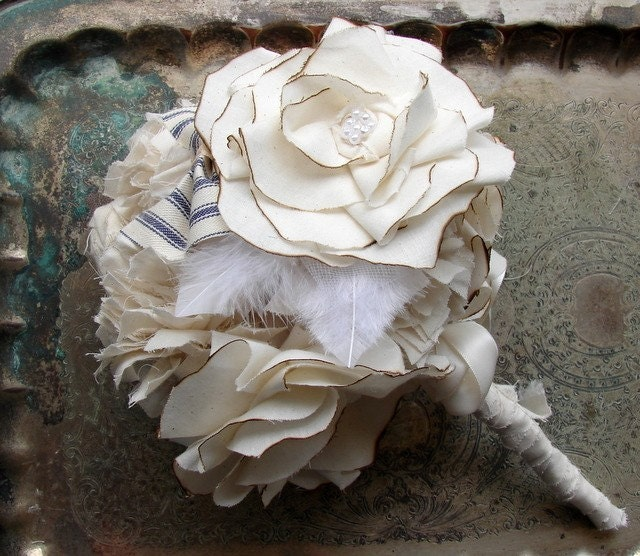 Bridal Bouquets. Weddings, Bride and Bridesmaid Roses and Bows Fabric Bouquets