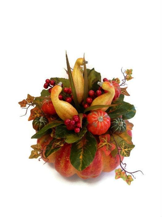 Thanksgiving Centerpiece With Gourds : Pumpkin gourd fall thanksgiving table centerpiece by