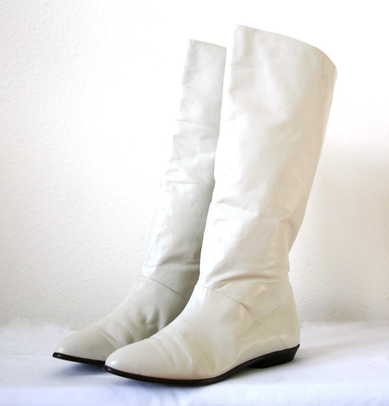 knee high white boots leather colored us by