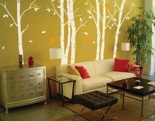 دشنه دیوار عکس برگردان --- 100in توس برگ جنگل. بلند 2 رنگ ترکیبی