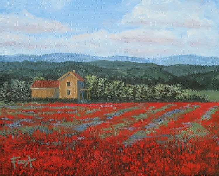 Field of Red   16 X 20 Impressionist landscape