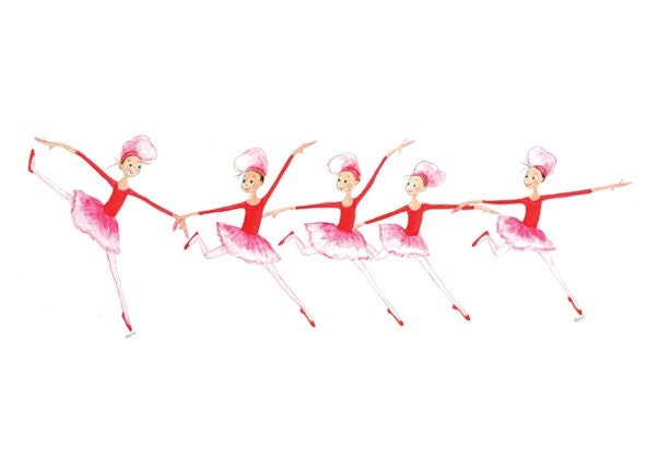 THE NUTCRACKER - The Chefettes - Printed Card -  5 Girls in Red & Pink Tutus Red Ballet Slippers and Chef Hats Dancing in a Row - TheArtfulBumblebee