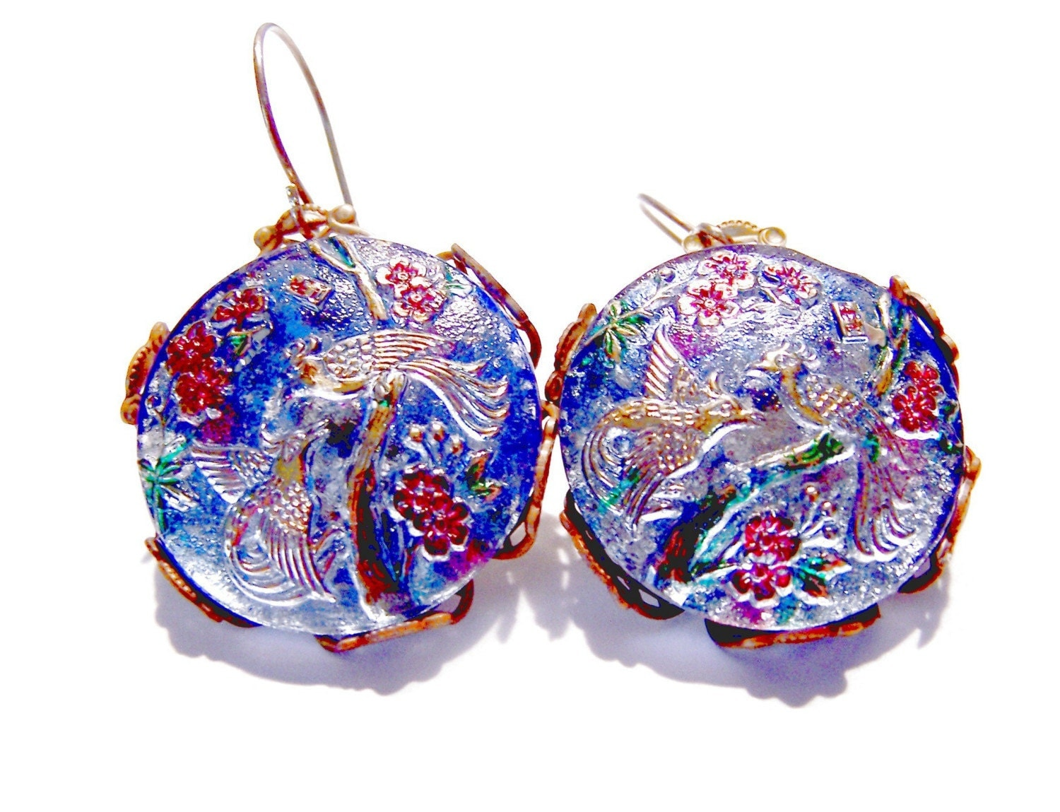 CZECH GLASS Blue Red Gold Bird of Paradise Vintage Filigree Round Earrings