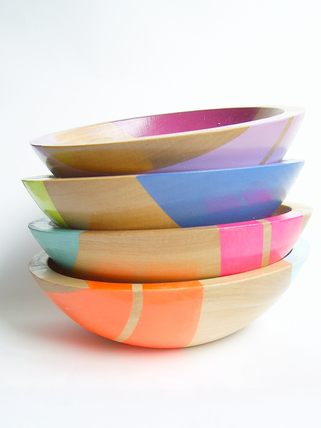 "Set of FOUR Modern Neon Hardwood 7"" Bowl"