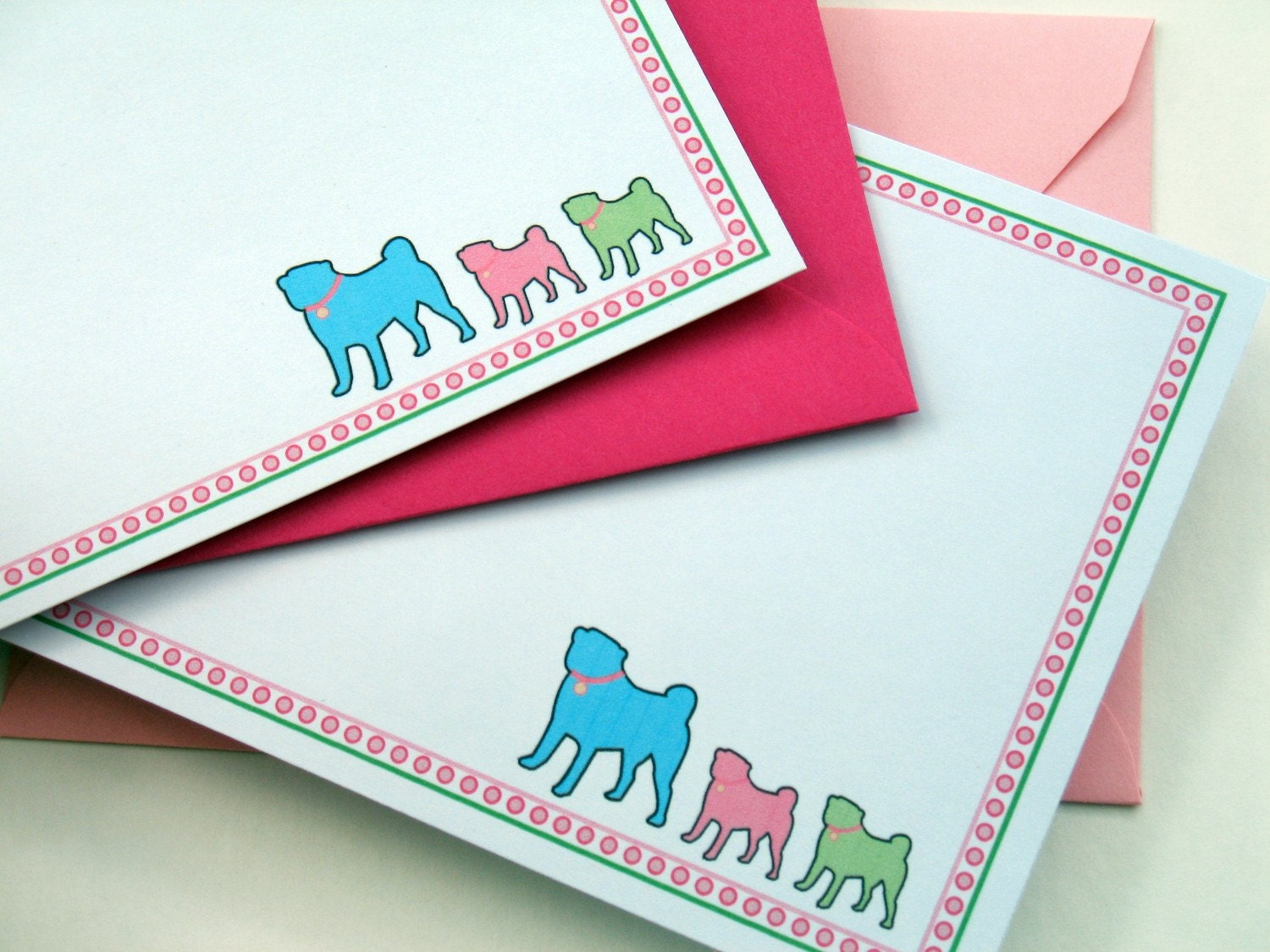 Three Little Pugs Note Cards (set of 8)