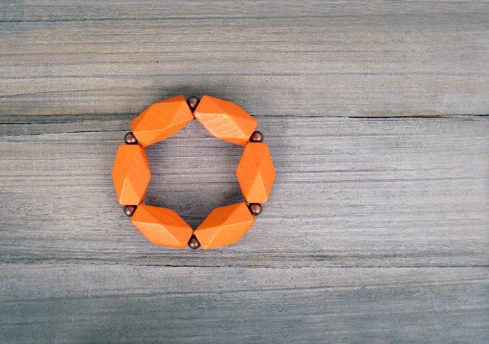 Geometric Bracelet / Orange Bracelet / Strech Bracelet - JullMade