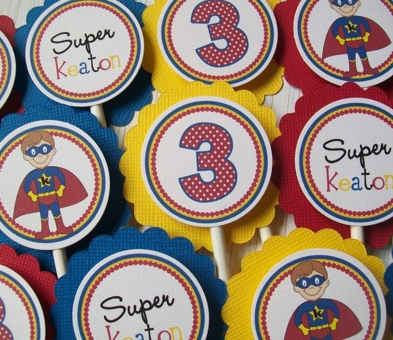 NEW- Superhero Kids Cupcake Toppers- a Ciao Bambino EXCLUSIVE Design