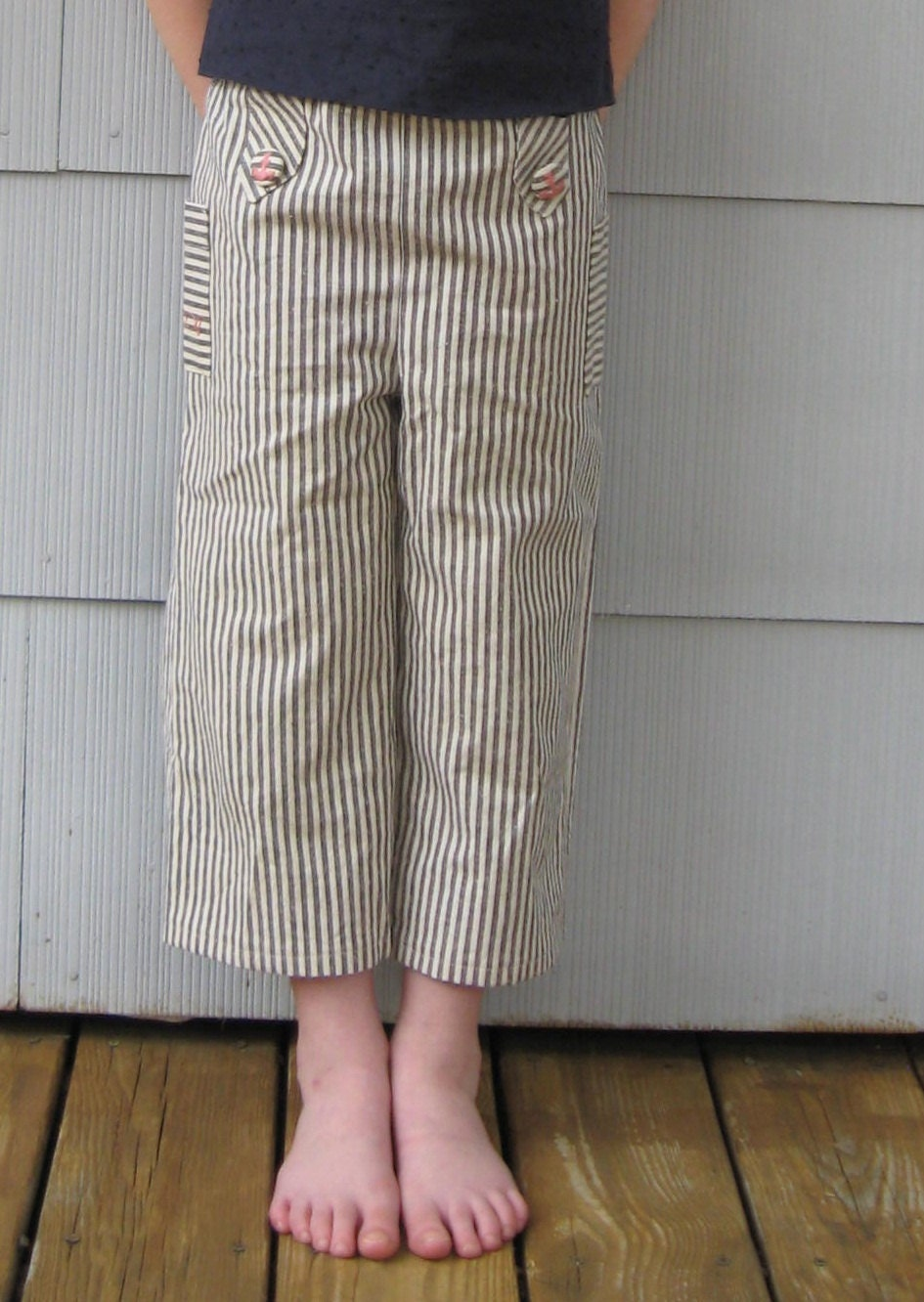 girls Cropped Sailor Pants - organic blue and white stripes with pink embroidery and roomy pockets size 5 to 12 free shipping - betsybdesign