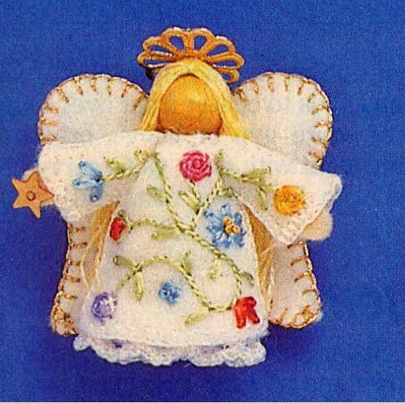 Vintage Teeny Tiny Felt Angel Ornaments Sewing by ...