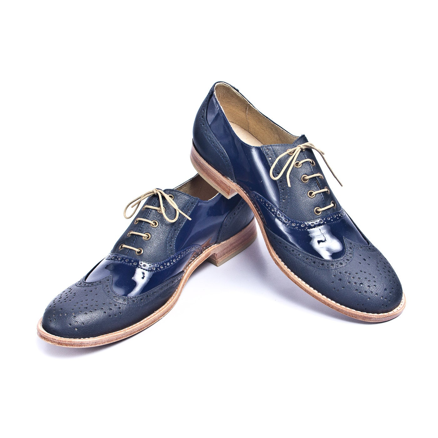 navy blue leather and patent leather oxford shoes by