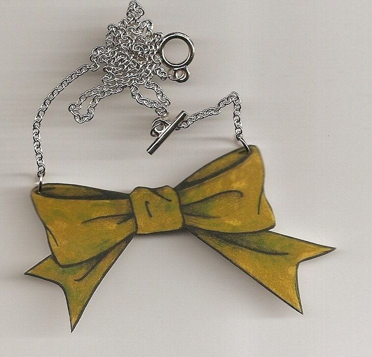 Chartreuse Bow Necklace