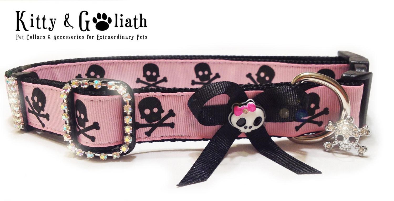 Dog Collar Pink Skulls & Crossbones w Bow and Rhinestones - Large Dog ...: www.etsy.com/listing/117788410/dog-collar-pink-skulls-crossbones-w-bow