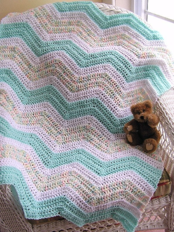 Crocheting A Zig Zag Afghan : chevron zig zag crochet knit baby blanket afghan wrap toddler ripple ...