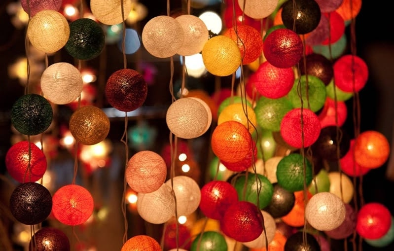 Sale 2 Sets of  20 x mix color cotton ball string light patio outdoor decoration deco room bedroom wedding patio party oriental asia - cottonlight