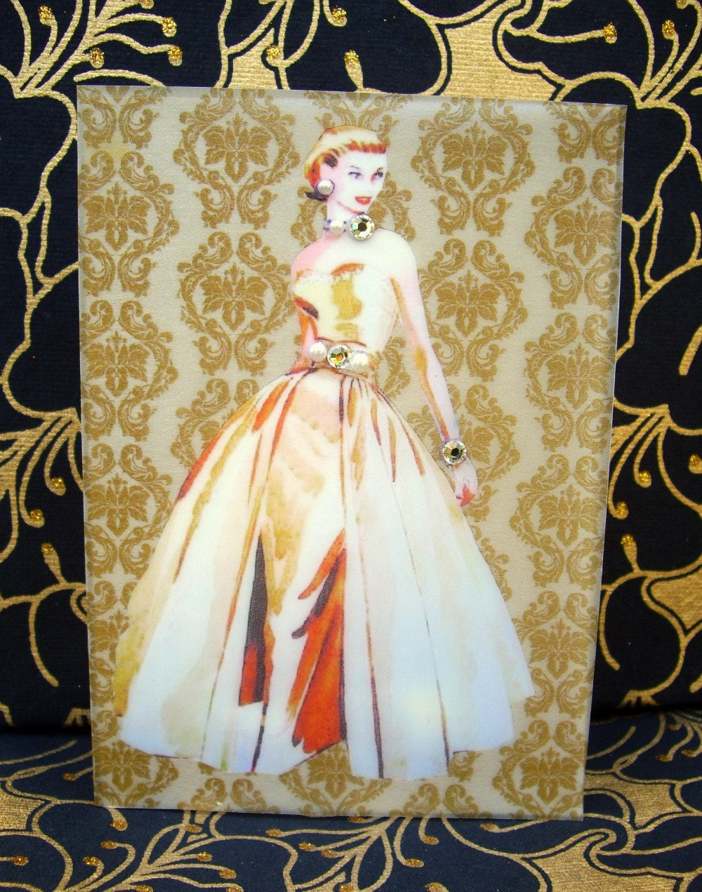 Grace Card / Vintage Printed Collection / 50s Glamour Girl / Handmade Greeting Card