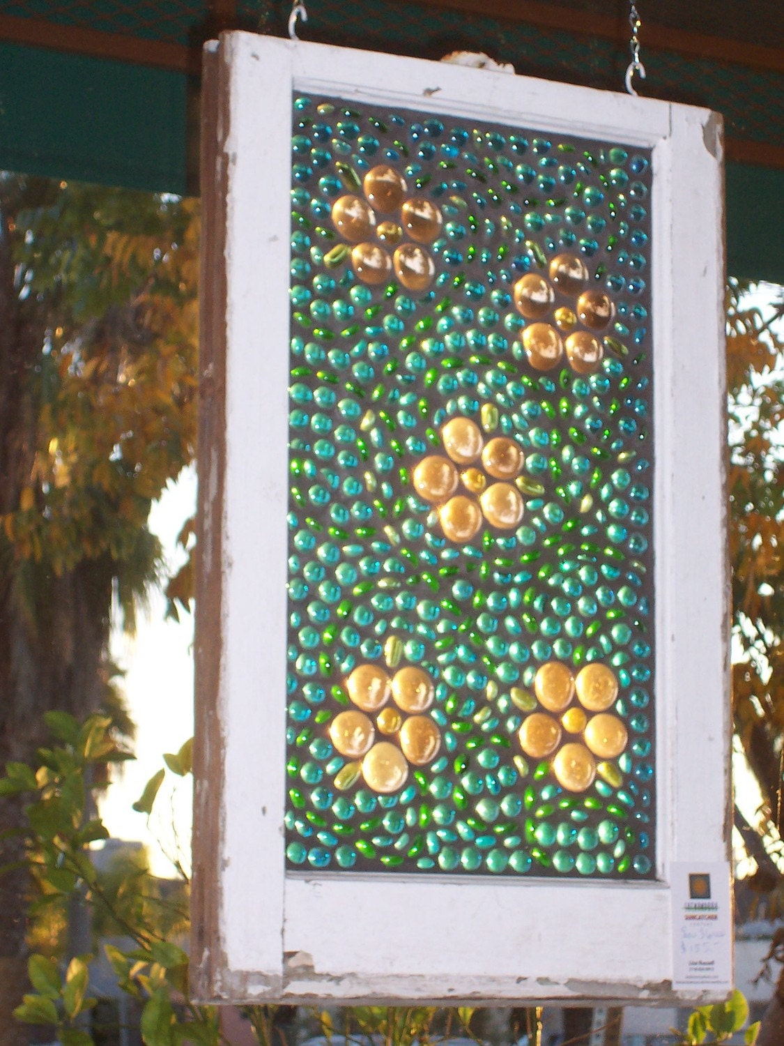 "Stained Glass Art on Recycled Window ""Las Flores"""