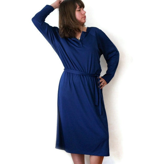 Vintage Navy Dress - Long Sleeve Dress