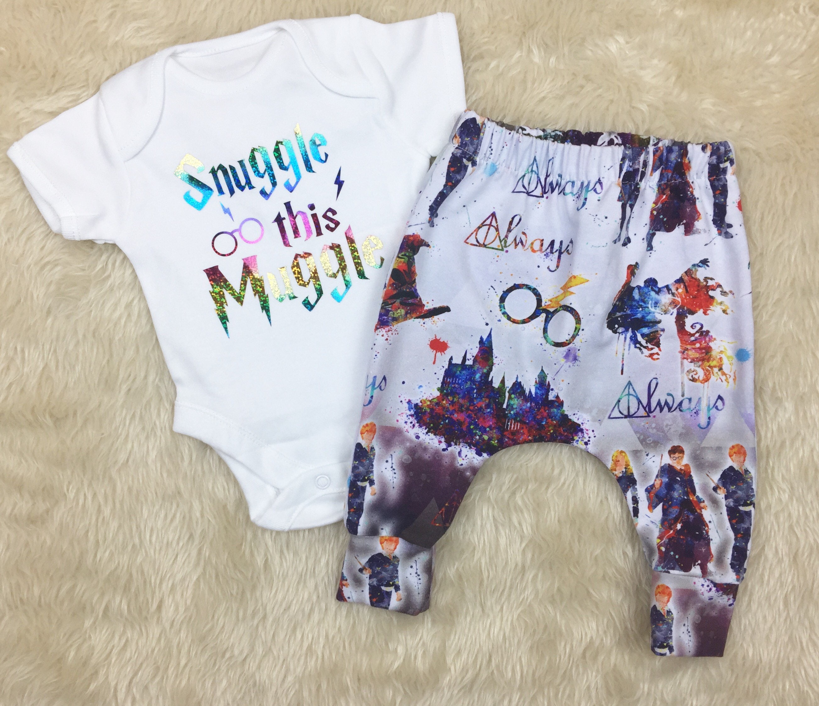 Harry Potter Baby Outfit  Harry Potter Clothes  Snuggle That Muggle  Harry Potter Clothes  Harry Potter Onesie  Harry Potter Trousers