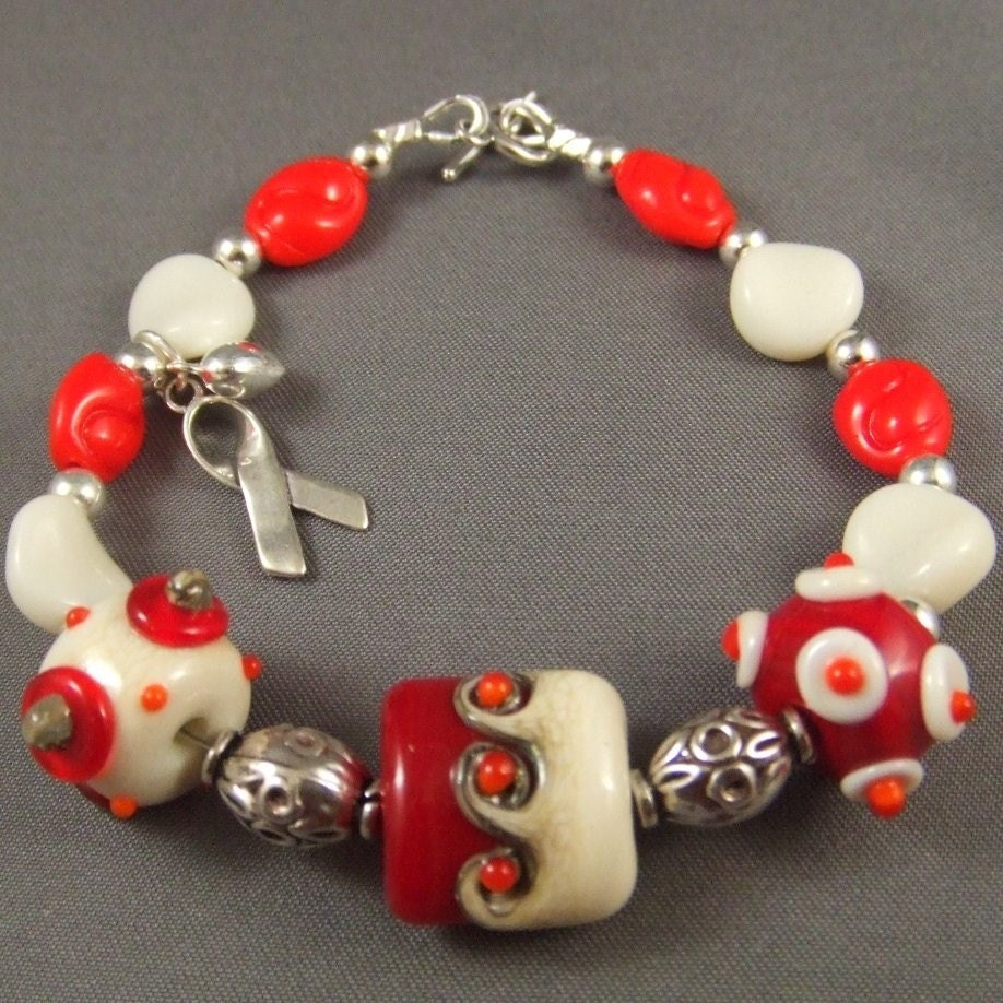 Red Ribbon HIV AIDS awareness Bracelet with Lampwork Beads