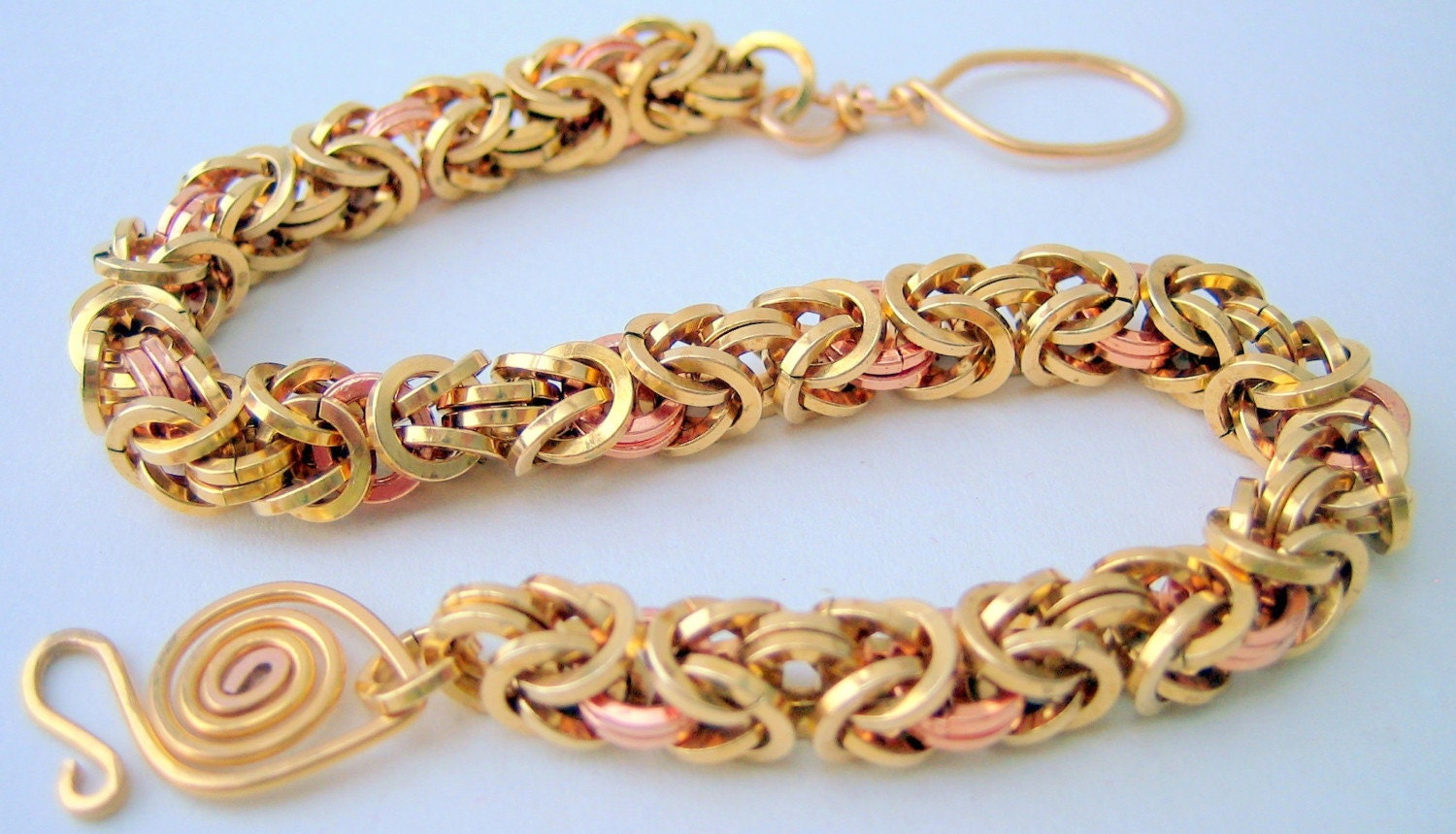 Bracelet - Byzantine Chainmaille Red Brass and Copper