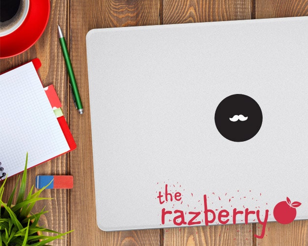 Moustache Mac Apple Logo Cover Laptop Vinyl Decal Sticker Macbook Decal Beard Stache MacBook Vinyl Sticker Decal Circle Shape Macbook Pro