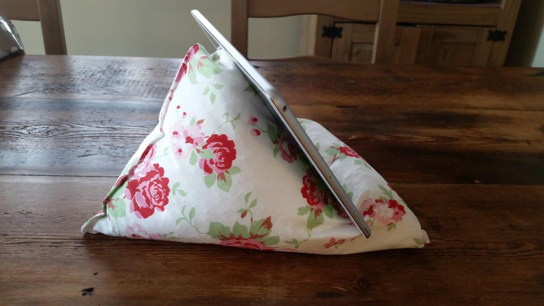Ipad Tablet kindle bean bag cushion pillow stand in Cath Kidston Ikea print  Handmade
