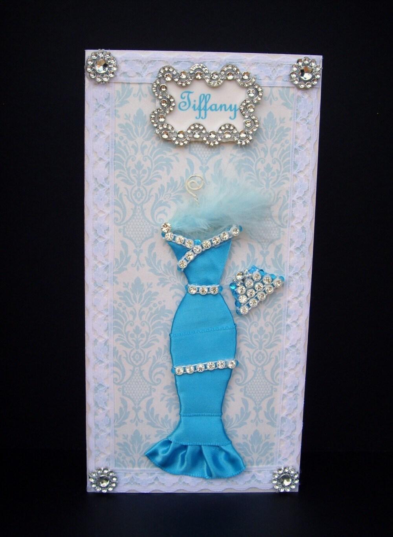 Tiffany Personalised Dress Card / Handmade Greeting Card
