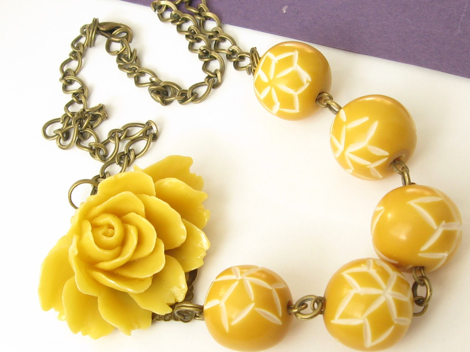 Asymmetrical Necklace - Bright Yellow Rose