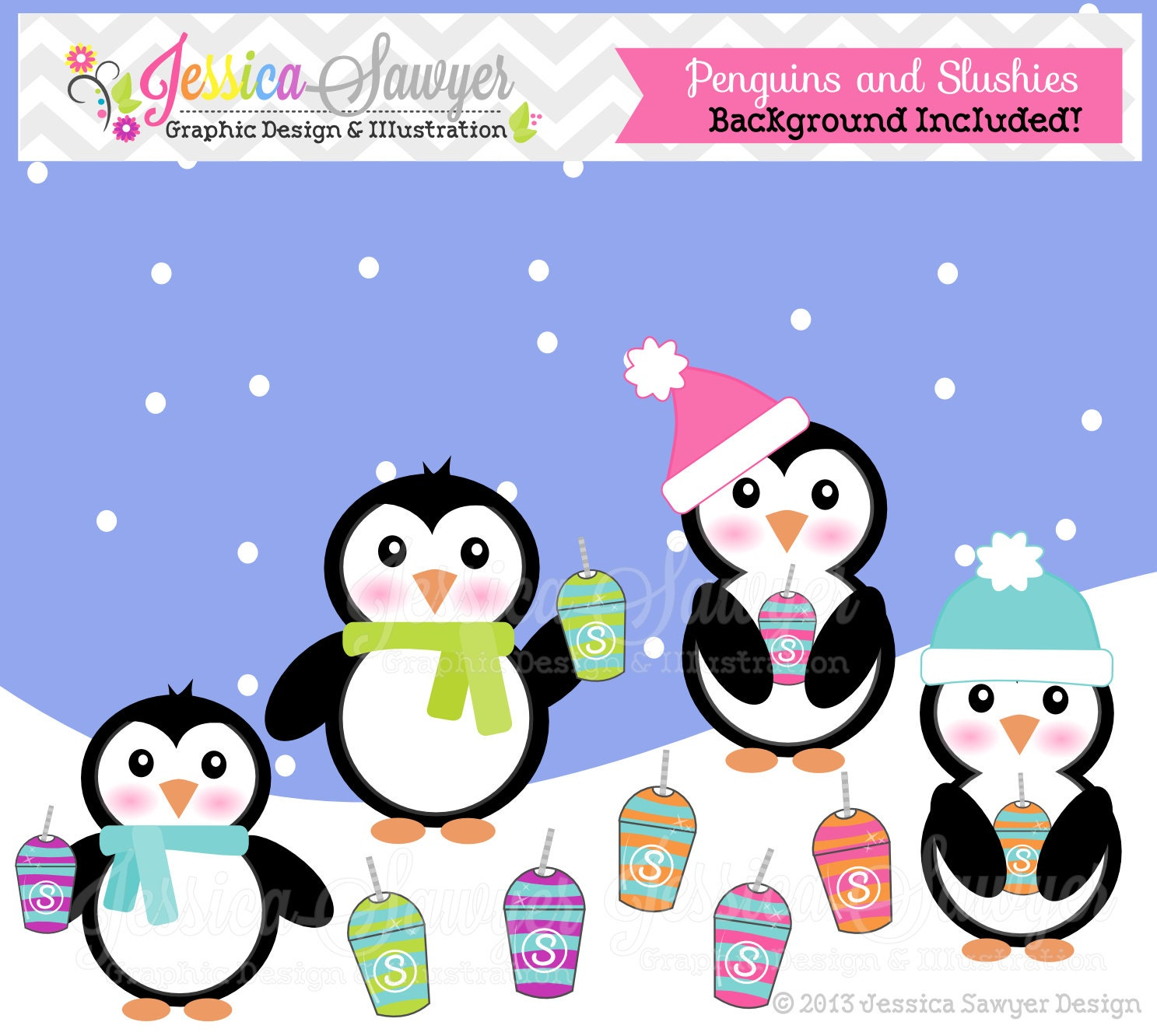 80% OFF - INSTANT DOWNLOAD, cute penguins and slushies clipart, winter ...