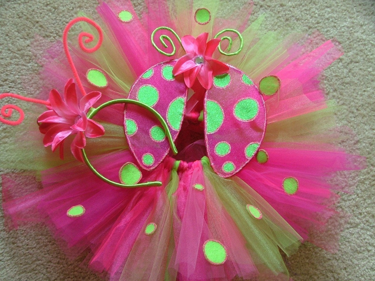 Custom lime green and hot pink ladybug tutu costume set made in 3T-6 in girls