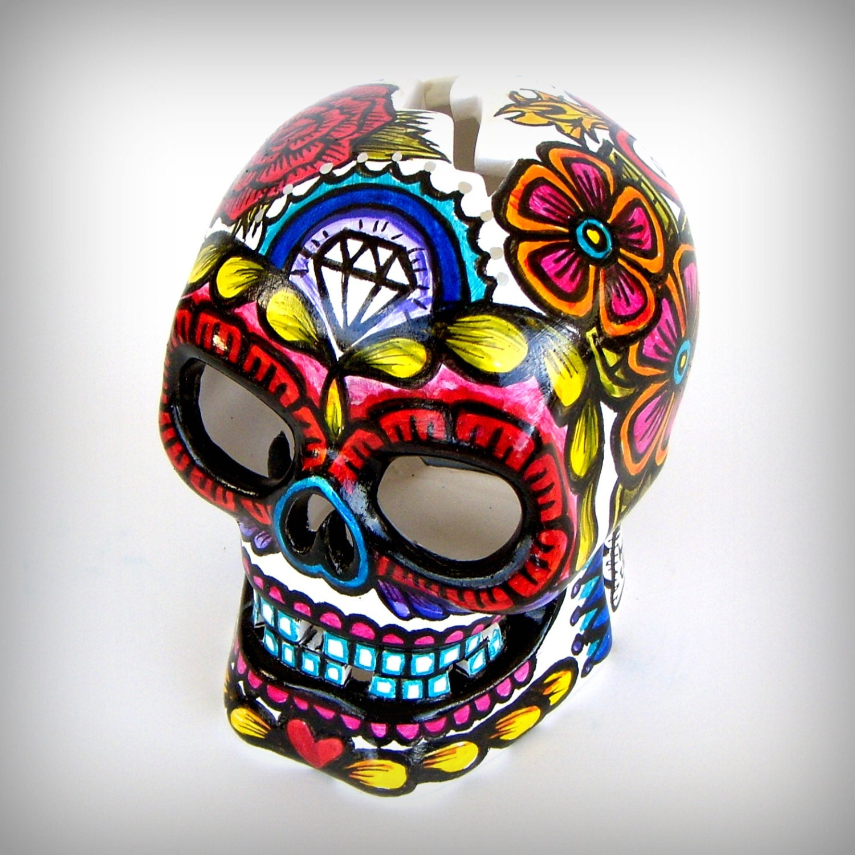 Ceramic Sugar Skull Lantern Day Of The Dead Votive By