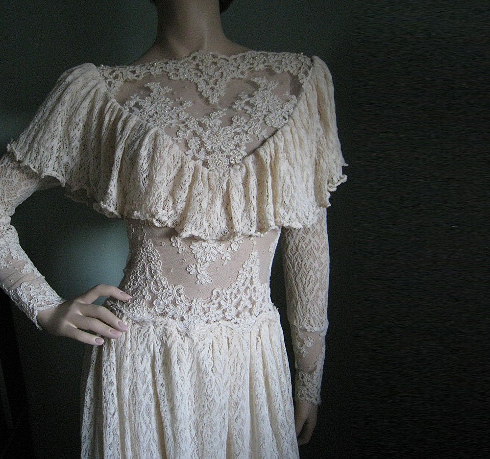 Vintage lace wedding dress victorian by chiccomplement on etsy for Vintage victorian wedding dresses