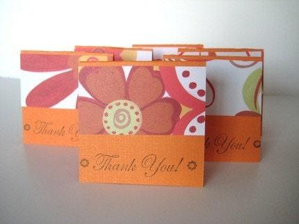 Set of 24 Orange Mini Thank You Cards
