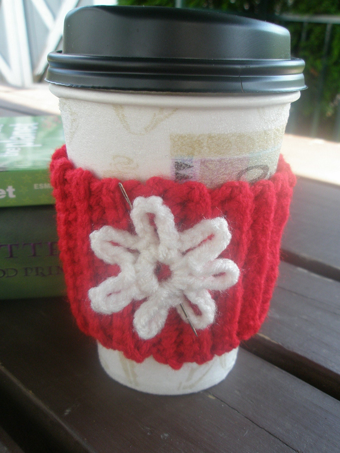 CIJ SALE  Crocheted Coffee Cozy in Cherry Red with white flower
