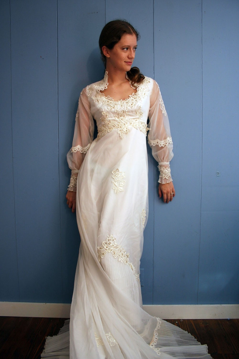 Reserved for Lamoo . Vintage Airy Chiffon Wedding Dress