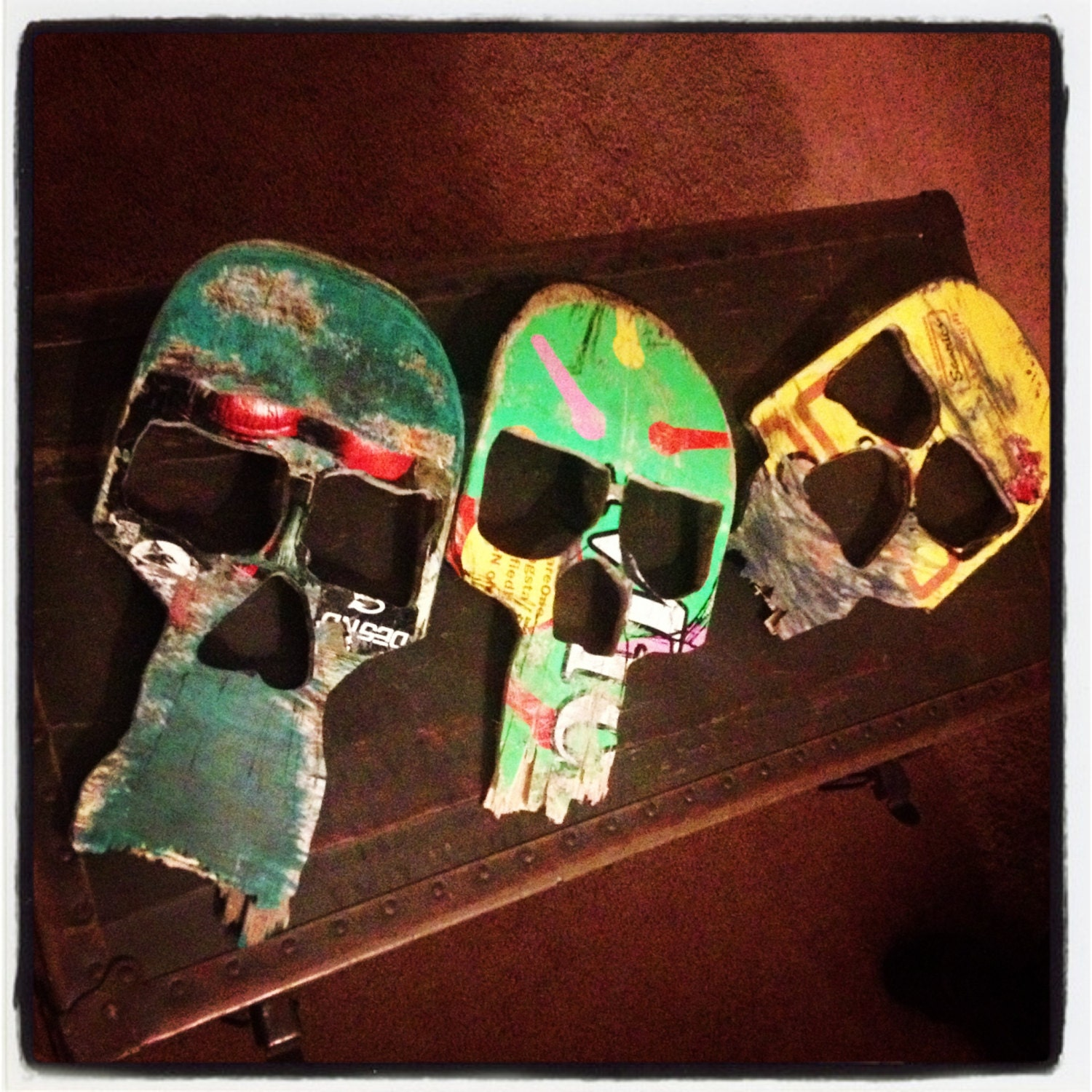 Skull Wall Art from Broken Skateboard Decks - WanderingStarLargo