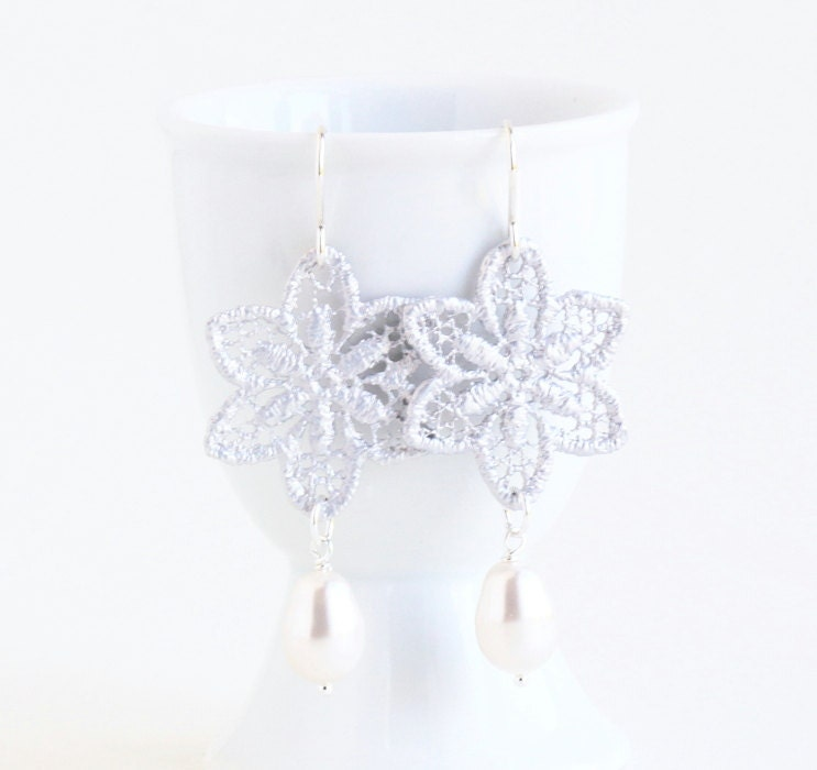 Matte Silver Plated Lace Filigree Earrings, Flower, Snowflake Earrings, Winter, White Pearls, Wedding Jewelry - JacarandaDesigns